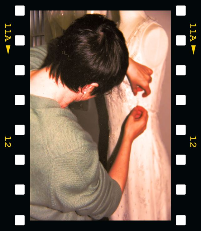 ...working on a wedding gown early in my career...